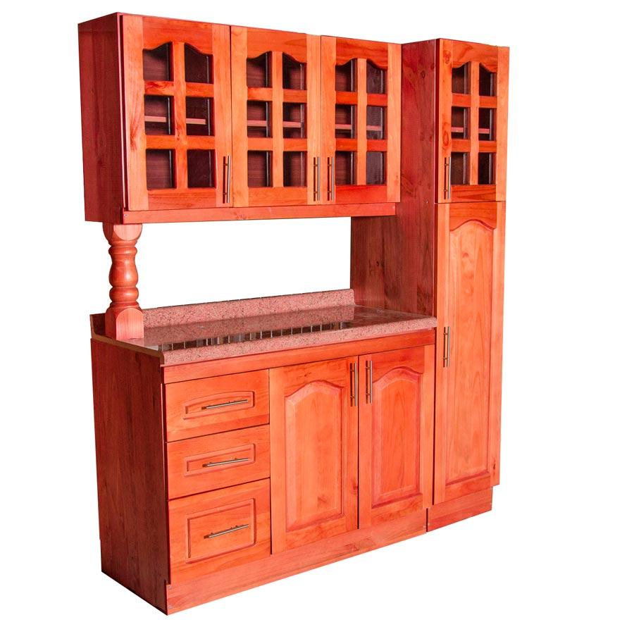 Muebles rio tolt n mueble cocina de madera vidriado 3 puertas 1 despensa - Mueble despensa cocina ...