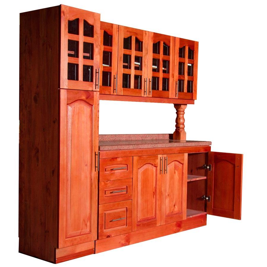 Muebles rio tolt n mueble cocina de madera vidriado 4 puertas 1 despensa - Mueble despensa cocina ...