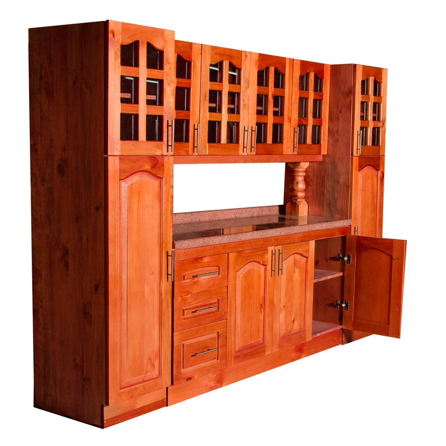 Muebles rio tolt n mueble cocina de madera vidriados 4 for Muebles de madera para cocina pequena