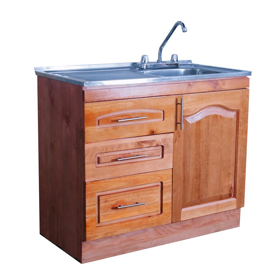 Muebles rio tolt n mueble lavaplatos de madera 1 metro for Muebles de cocina 2 metros