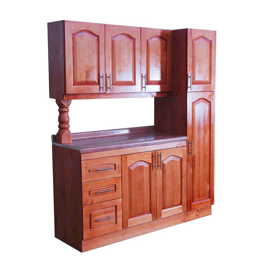 Mueble Cocina De Madera 3 Puertas 1 Despensa